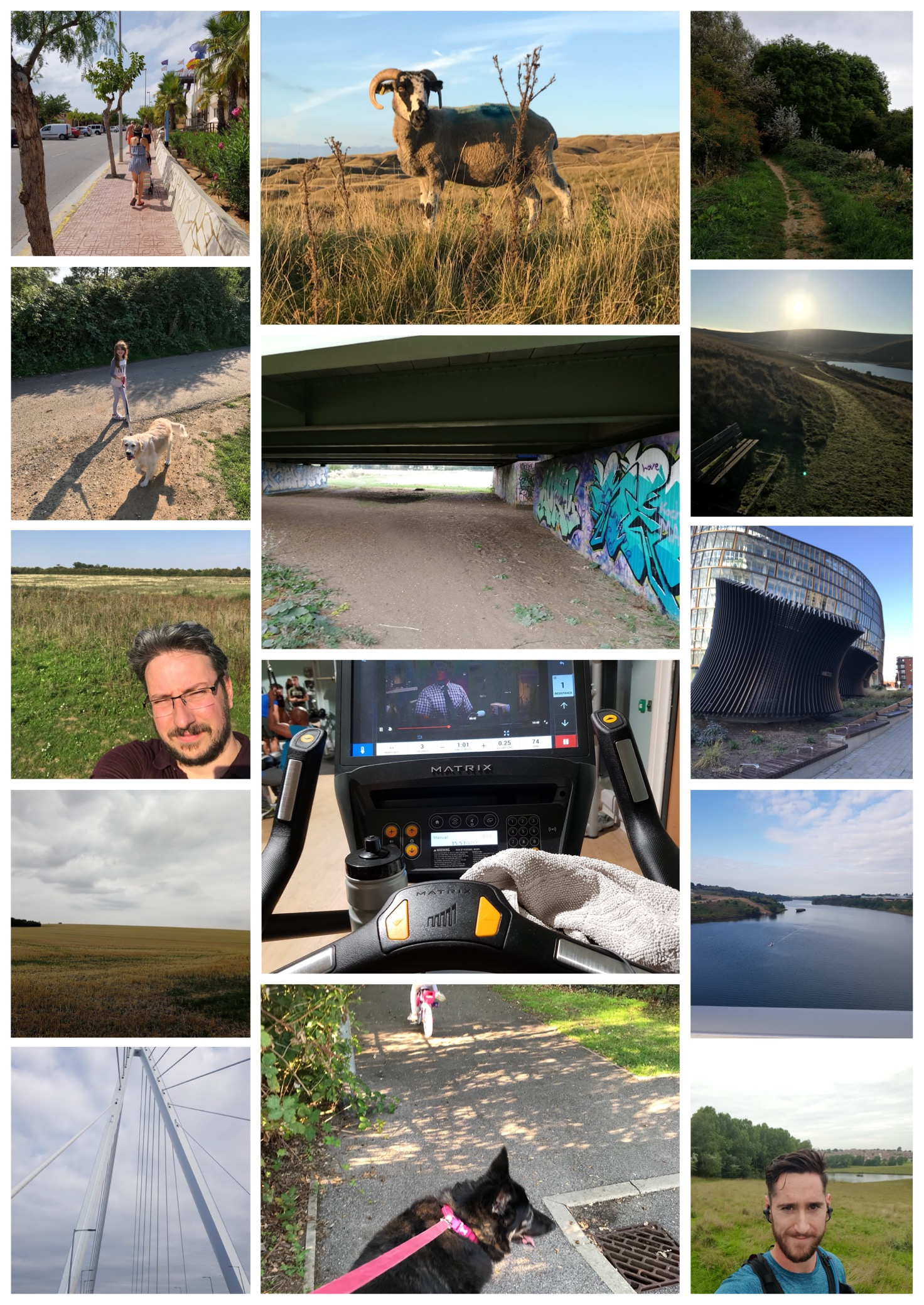 Selection of images of the hyphen8 team out walking, running and cycling the length of the UK,