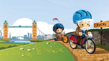 Salesforce World Tour Astro and Einstein on bikes to London