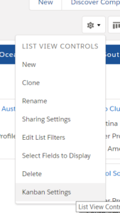 Lightning Kanban Views - Select Settings